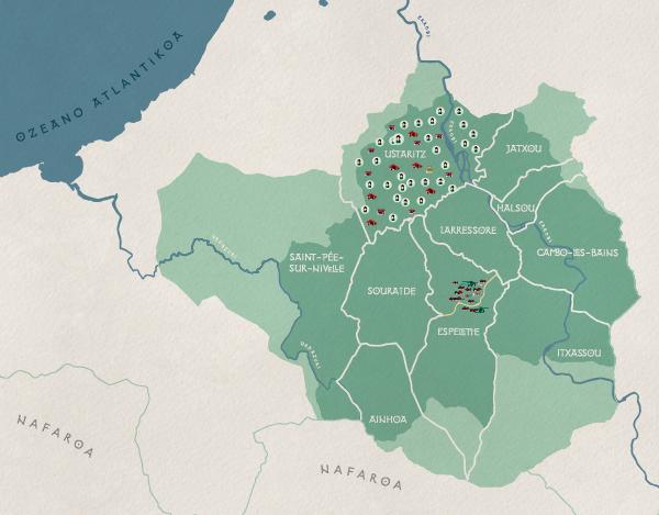 Cartographie de la zone AOP au Pays Basque