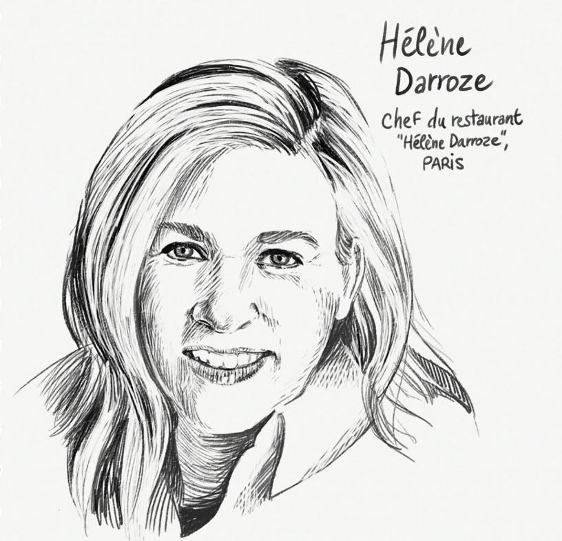 Portrait dessiné d'Hélène Darroze