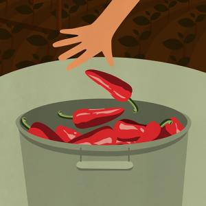 Illustration de la récolte manuelle des Piments