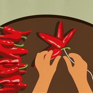 Illustration de la transformation des piments
