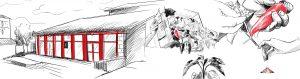 dessins du bâtiment d'Etxea et de Piments