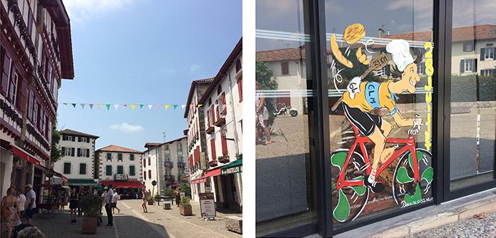 Village d'Espelette et vitrine peinte pour le Tour de France 2018