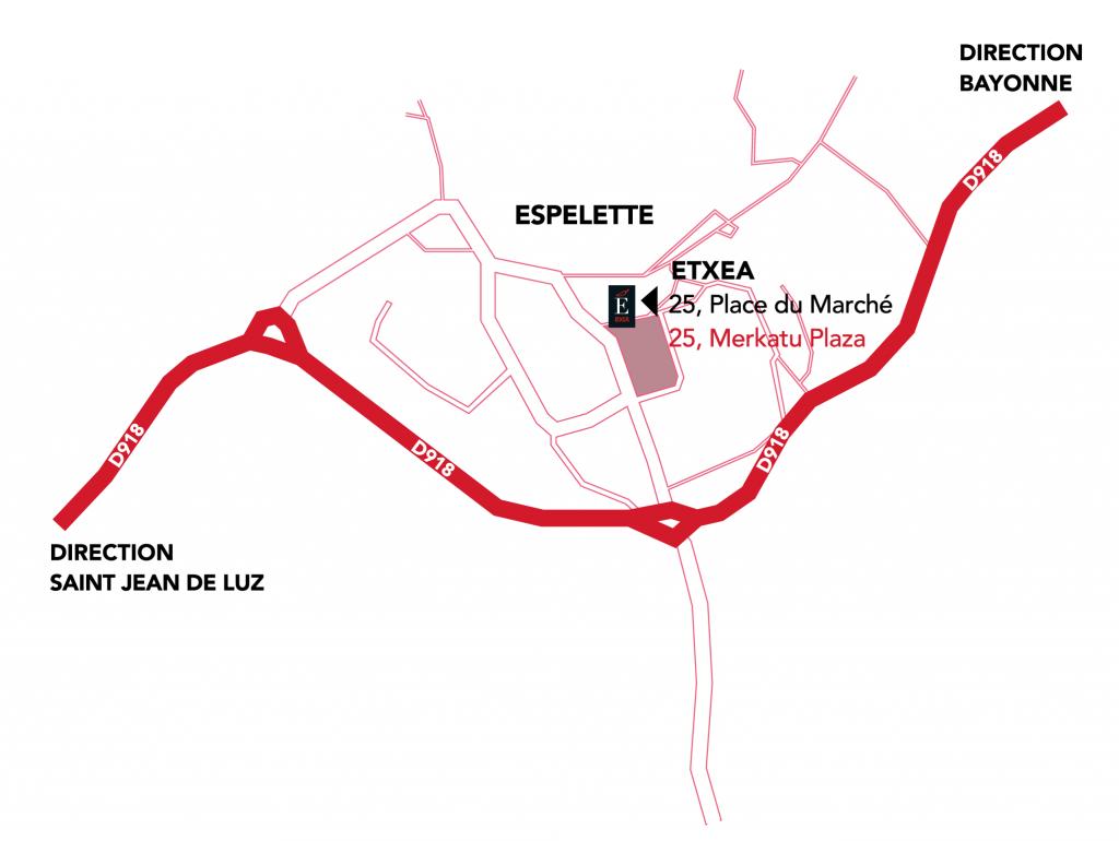Carte indiquant l'adresse d'Etxea à Espelette